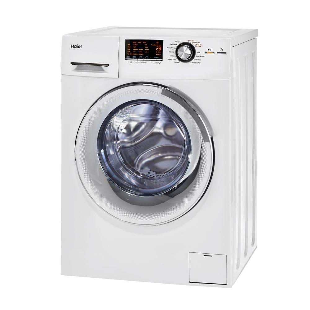 haier 24inch wide front load washer and dryer combination white hlc1700axw