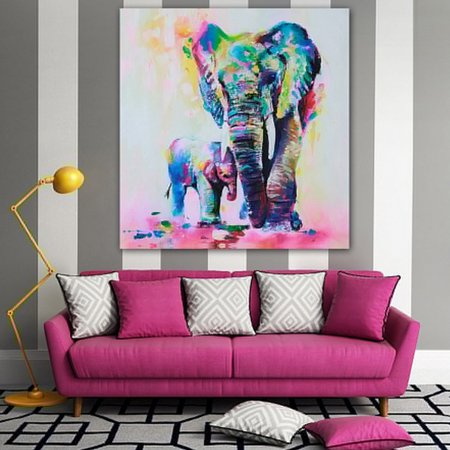 Wall Art Oil Paintings Canvas Prints, Animals Elephants Mom Children Modern Abstract Canvas Artwork Living Room Bedroom Office Home Decorations Wall Decor