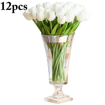 White Tulip - 12PCS Artificial Flowers, Justdolife Mini Fake Tulip Bouquets Pink White Silk Flowers Plants DIY Arrangements Bride Bouquet for Engagement Wedding Party Home Decor (12.2in)