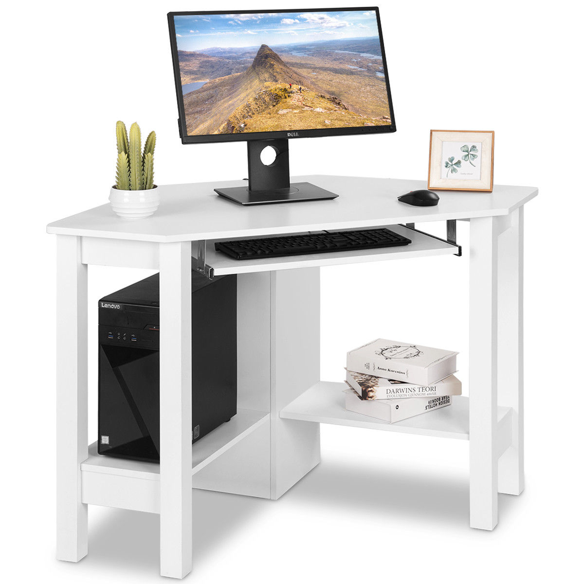 Costway Wooden Corner Desk With Drawer Computer PC Table Study Office Room  White - Walmart.com