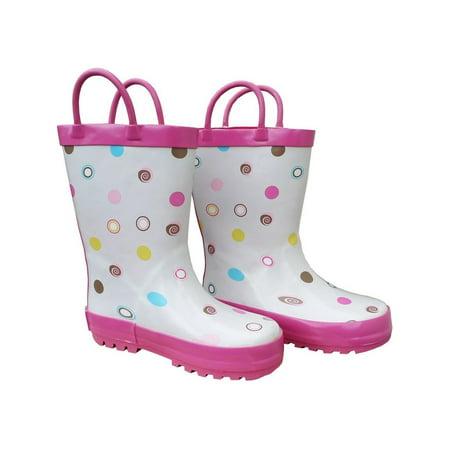 White Polka Dots Deluxe Girls Rain Boots 11-3 (White Boots For Girl)