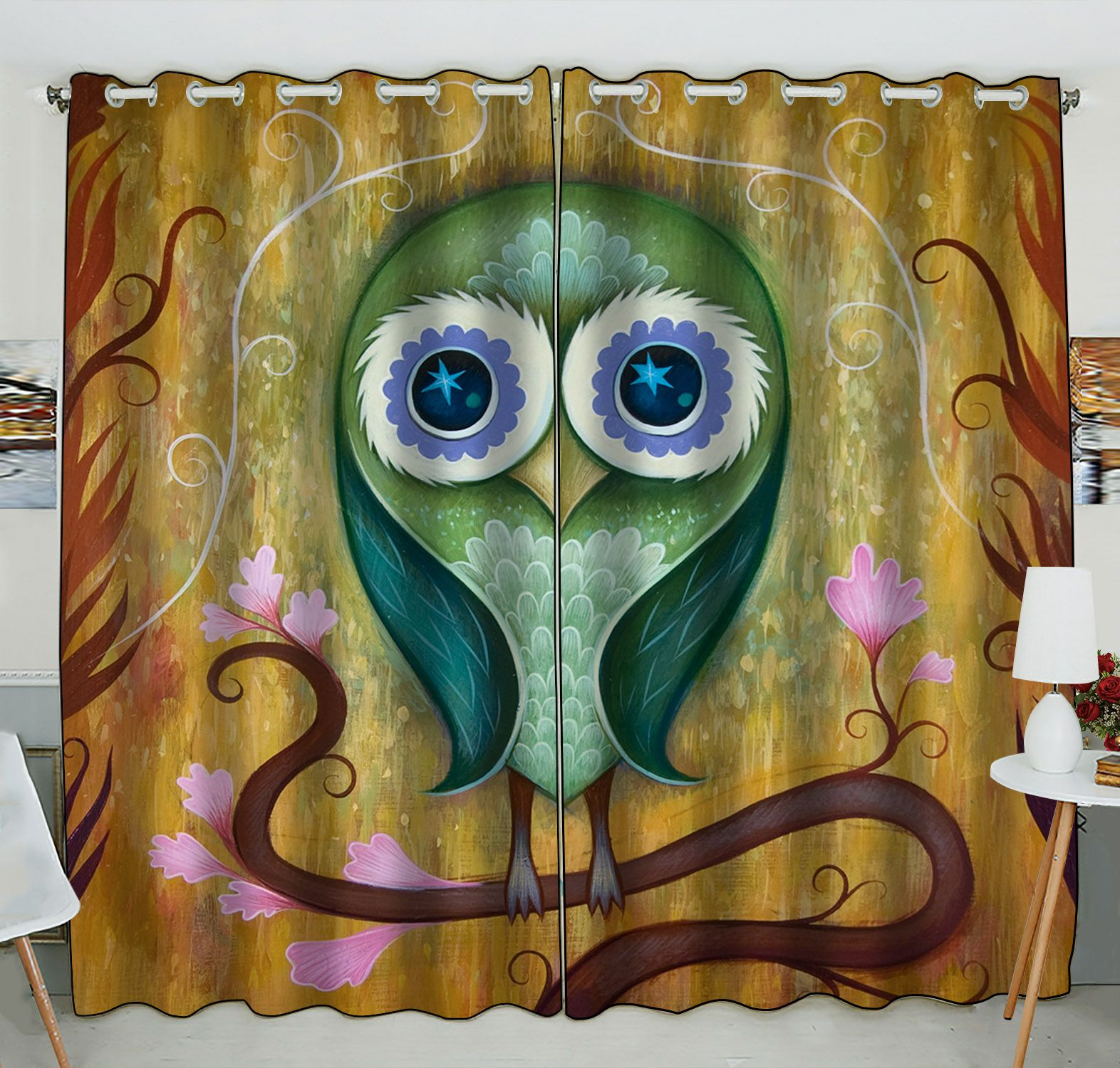 ZKGK Owl Art Pattern Window Curtain Drapery/Panels/Treatment For Living Room Bedroom Kids Rooms 52x84 inches Two Panel