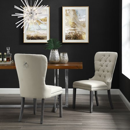 Marvelous Ivy Cream Linen Dining Chair Set Of 2 Tufted Ring Handle Chrome Nailhead Finish Bralicious Painted Fabric Chair Ideas Braliciousco