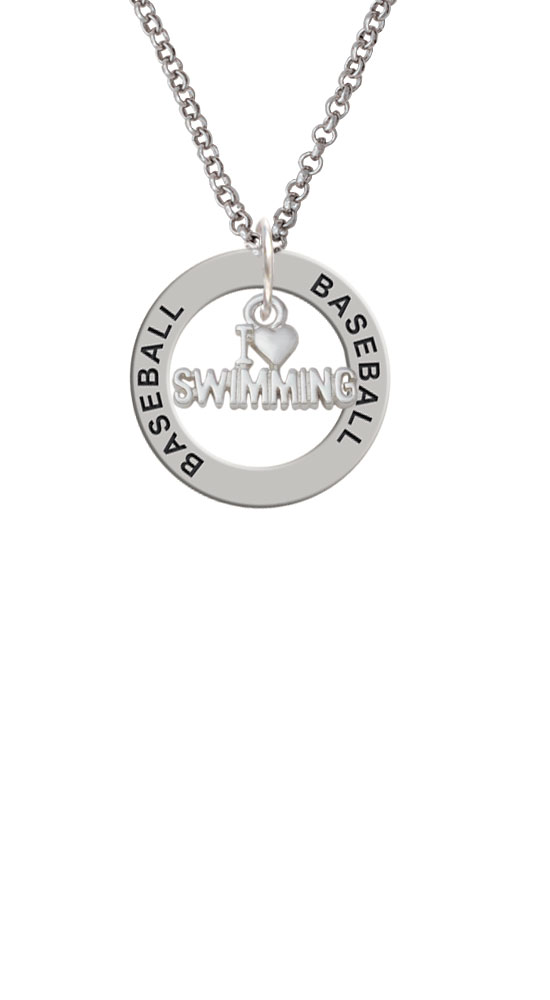 I Heart Swimming Baseball Affirmation Ring Necklace by Delight and Co.