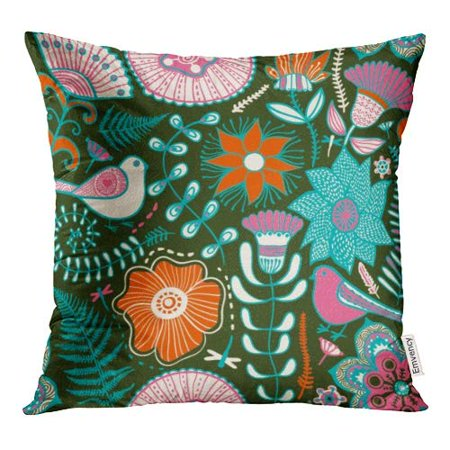 - ECCOT Red Fern Flowers and Pigeons Endless Floral Pattern Blue Modern Pillow Case Pillow Cover 18x18 inch