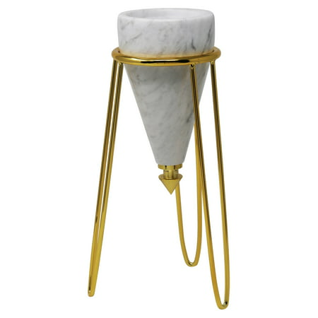 Sagebrook Home Metal and Marble Tripod Pillar Candle Holder Diesel Outlook Pillar Pods