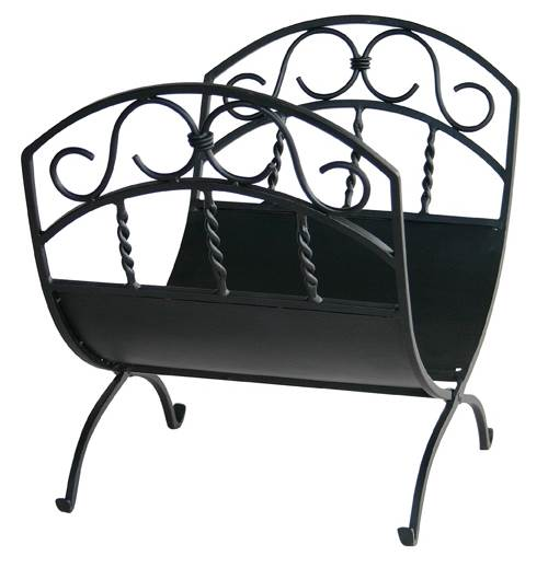 Wrought Iron Log Rack w Black Finish & Scrollwork