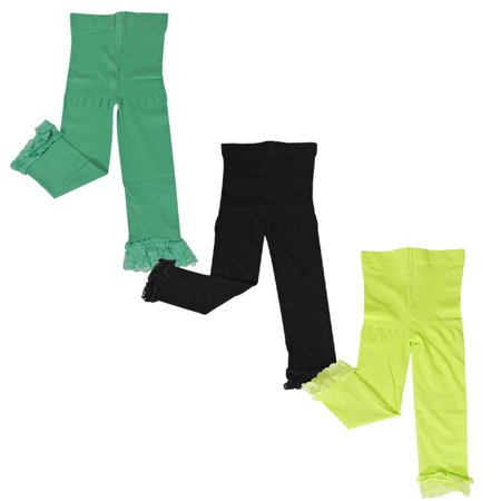 Wrapables® Toddler Stretch Leggings with Lace Trim, Set of 3 (Green, Black, Lime Green)