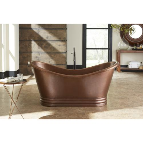Sinkology  Euclid Freestanding Bathtub 6-foot Handmade Antique Copper Bathtub w/Overflow
