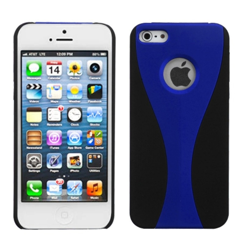 Insten Blue/Black Rubberized Wave Back Cover Case For Apple iPhone SE 5 5G