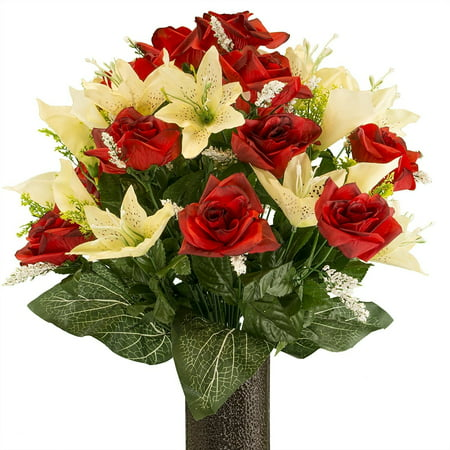Red Rose and Cream Tiger Lily mix, Artificial Bouquet, featuring the Stay-In-The-Vase Design(c) Flower Holder (MD2070)