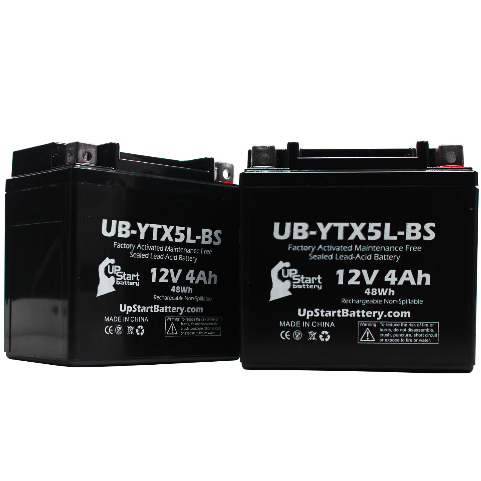 2 Pack - YTX5L-BS Battery Replacement (4Ah, 12v, Sealed) Factory Activated, Maintenance Free Battery Compatible with - 2006 Honda CRF150F, 2006 Honda CRF250X, 2005 Honda CRF250X, 2004 Honda CRF250X