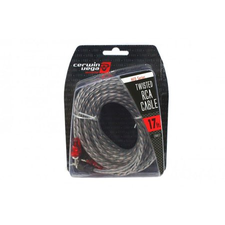 Cable Molded Ends - 2-channel 17 Foot Single Molded Ends Rca Cable Stereo Cable Audio Rca  - Gray