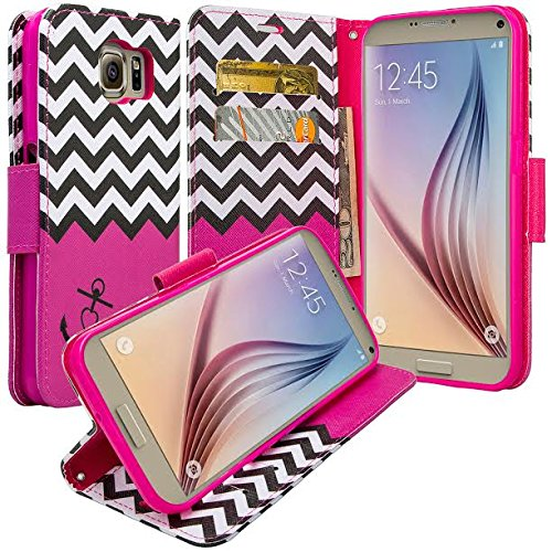 Samsung Galaxy S7 Case - Wydan Wallet Leather Credit Card Flip Book Style Folio Kicktand Feature Cover w/ Wrist Strap Rainbow Flower