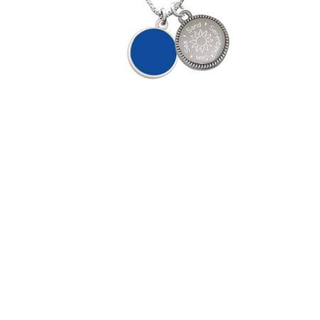 Silvertone Small Navy Blue Enamel Disc Sun Sea Sand Serenity Engraved Necklace (Navy Blue Sand)