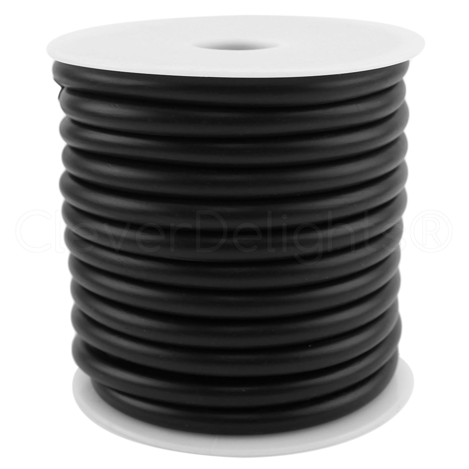 "CleverDelights Black Solid Rubber Cord - 30 Feet - 7mm (1/4"") Round"