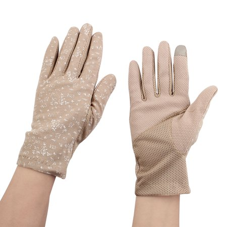 Women Ladies Anti-slip Full Finger Mittens Summer Outdoor Sun Gloves Khaki