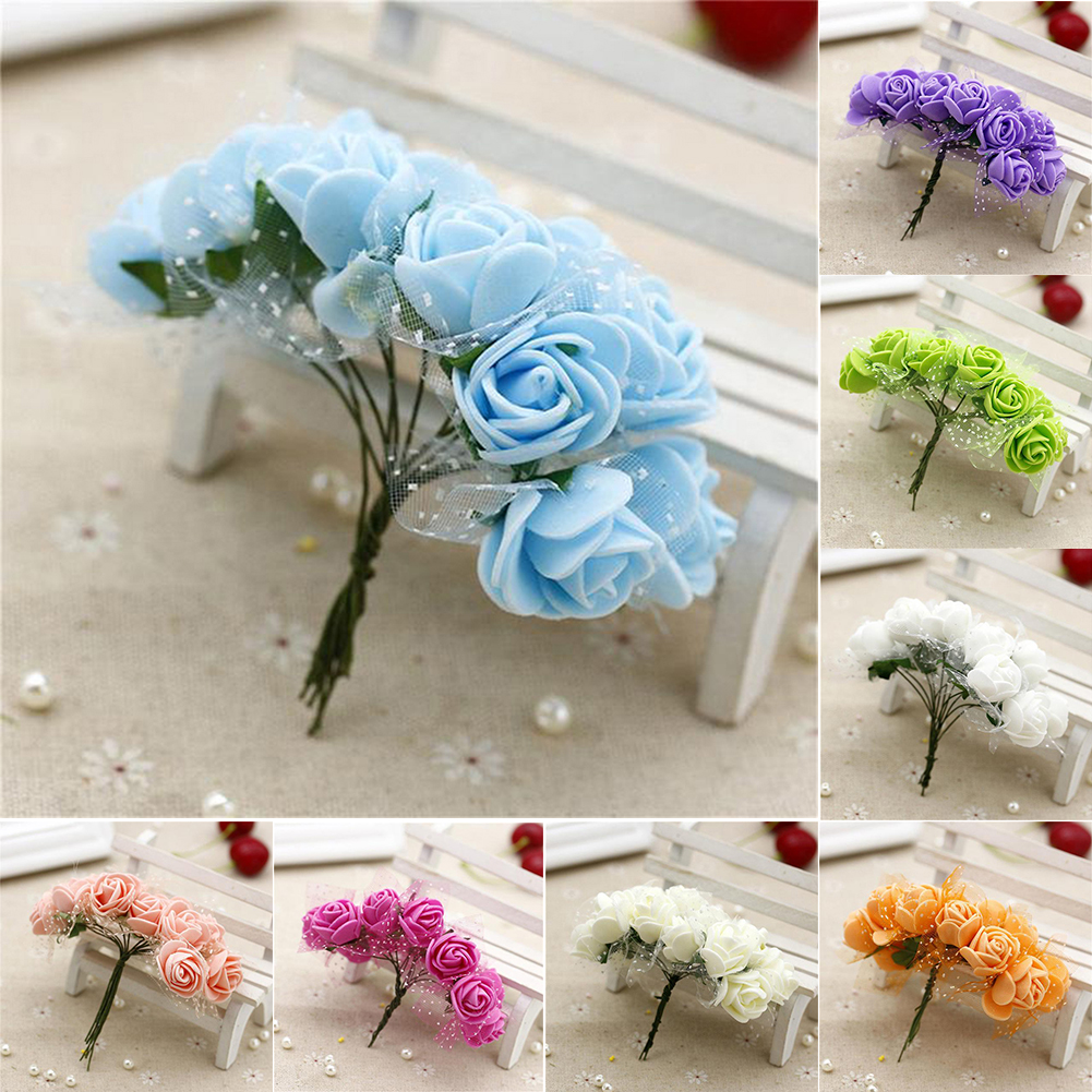 Girl12Queen 2.5cm Foam Artificial Wrist Flower Fake Rose Bouquet Wedding Party Decoration