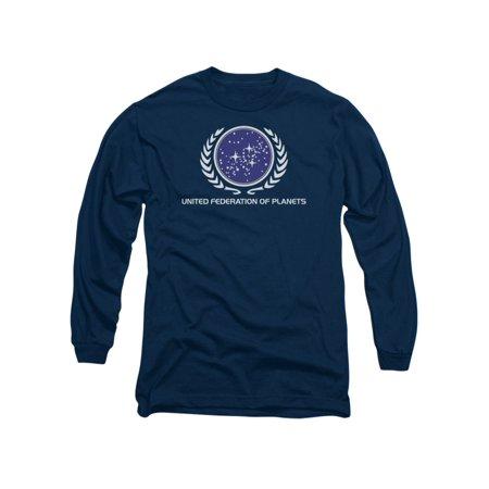 Star Trek Next Generation TVSeries United Federation Logo Adult L-Sleeve (Star Trek United Federation Of Planets Blue Flag)