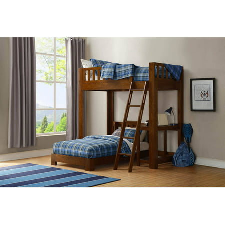 Luke Twin Over Twin Wood Loft Bed With Desk Brown Cherry