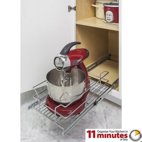 "Hardware Resources Metal Basket Pullout Organizer For 15"" Base Cabinet"