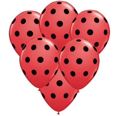Ladybug Party 11 inch Red w/Black Dots Latex Balloons (6 ct) - Lady Bug Party
