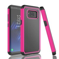 Galaxy S8 Plus Case, S8+ Case Cover, Tekcoo [Tmajor] Shock Absorbing [Hot Pink] Hybrid Rubber Silicone & Plastic Scratch Resistant Bumper Rugged Grip Cases Cover For Samsung Galaxy S8 Plus