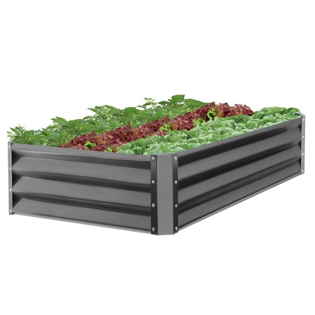 Best Choice Products 47x35.25x11-inch Outdoor Metal Raised Garden Bed Box Vegetable Planter for Growing Fresh Veggies, Flowers, Herbs, and Succulents, Dark (Best Height For Raised Beds)