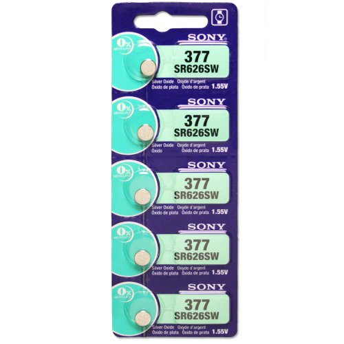 Sony 377 (SR626SW) 1.55V Silver Oxide 0%Hg Mercury Free Watch Battery (5 Batteries)