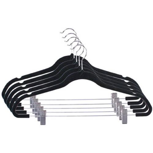 5-Pack Velvet Hanger with Clips, Black
