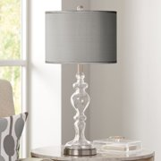 Possini Euro Design Modern Table Lamp Clear Glass Apothecary Slate Gray Faux Silk Drum Shade for Living Room Family Bedroom Bedside Office