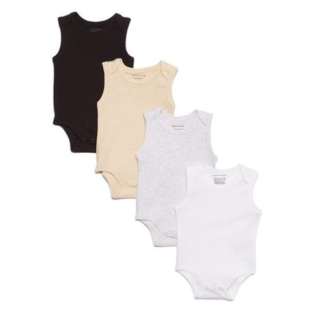 Sweet & Soft 2344634 Baby Neutral Tank Sleeve Solids Bodysuit Set -12m-24m - Case of 24 - Pack of 4 - image 1 of 1