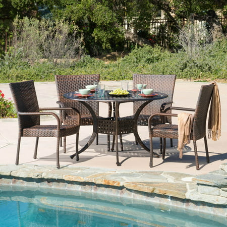 Amber Wicker 5 Piece Round Patio Dining Set ()