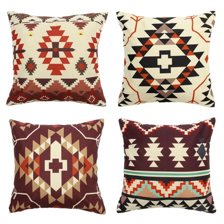 Meigar Aztec Geometric Abstract Linen Cotton Cushion Cover for Pillow Decorative Throw Pillow Case Cover for Couch ()