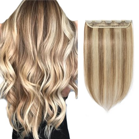 Wash Human Hair Extensions (S-noilite 100% Human Hair Clip In Hair Extensions Can Curly Dyed Washed 1 Piece/5 Clips Brown & bleach)
