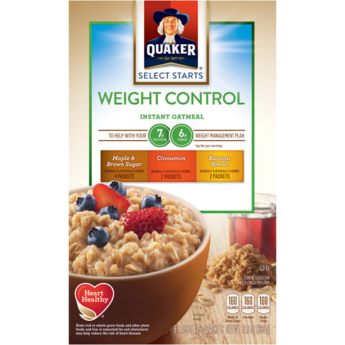 Quaker Weight Control Instant Oatmeal Variety Pack, 12.6 oz