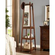 Roundhill Furniture Vassen Walnut Swivel Coat Rack with 3 Tier Storage and Mirror Shelves