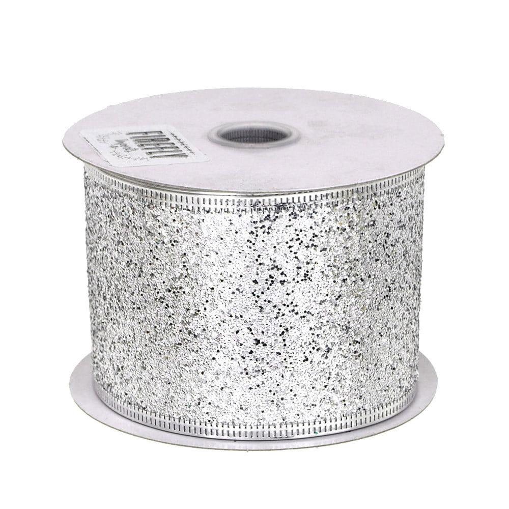 Glitter Christmas Ribbon Wired Edge, 2-1/2-inch, 10-yard, Silver