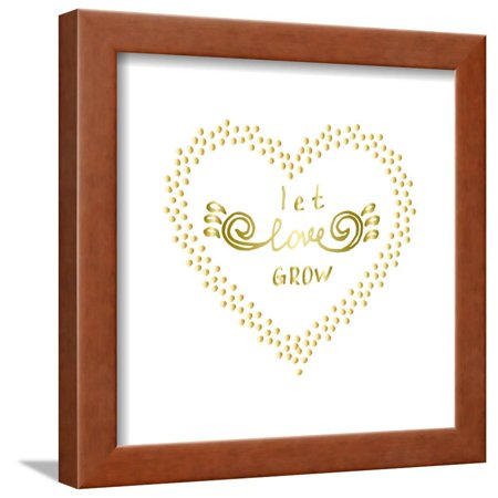 Let Love Grow Motivational Words Gold Confetti Heart Shape Frame ...