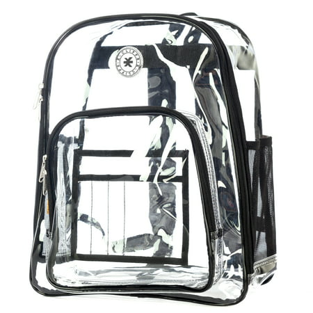 Heavy Duty Clear Backpack See Through Daypack Student Transparent Bookbag Black - Pokemon Bookbag