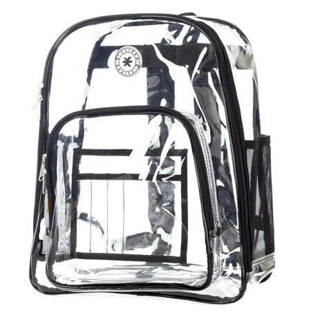 Heavy Duty Clear Backpack See Through Daypack Student Transparent Bookbag Black