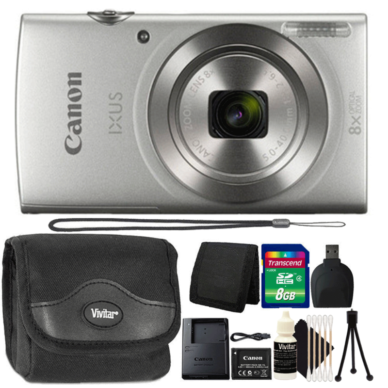Canon Ixus 185 / Elph 180 20MP Digital Camera Silver with 8GB Deluxe Accessory Kit