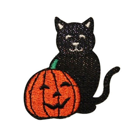 ID 0814 Happy Black Cat and Pumpkin Patch Halloween Embroidered Iron On Applique - Happy Halloween Black Cat