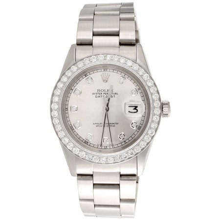 Mens Rolex Diamond Watch DateJust 36mm Stainless Steel Oyster Silver Dial 2 CT.