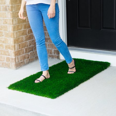 Large Grass Door Mat Rug With SmartDrain Technology - Stain Resistant Green Turf Perfect For Inside, Outside, Home Entryway, Patio, Balcony, Porch, RVs or Camping, Rectangle Size of 2X4 -
