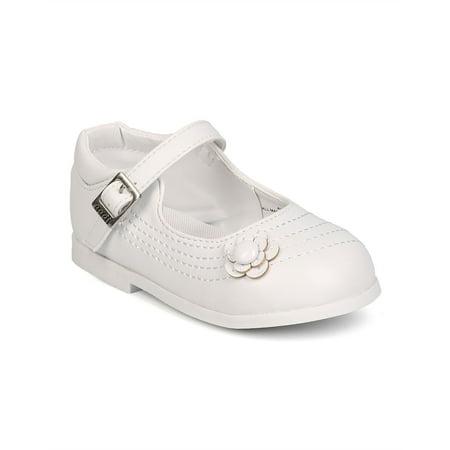 New Girl aadi Avery-907 Leatherette Round Toe Flower Mary Jane Uniform Shoe