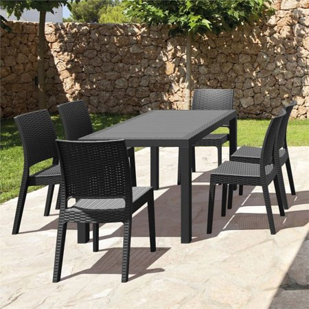Compamia Orlando 7 Piece Patio Dining Set in Dark Gray ()