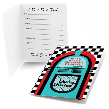 50's Sock Hop - Fill In 1950s Rock N Roll Party Invitations (8 count)