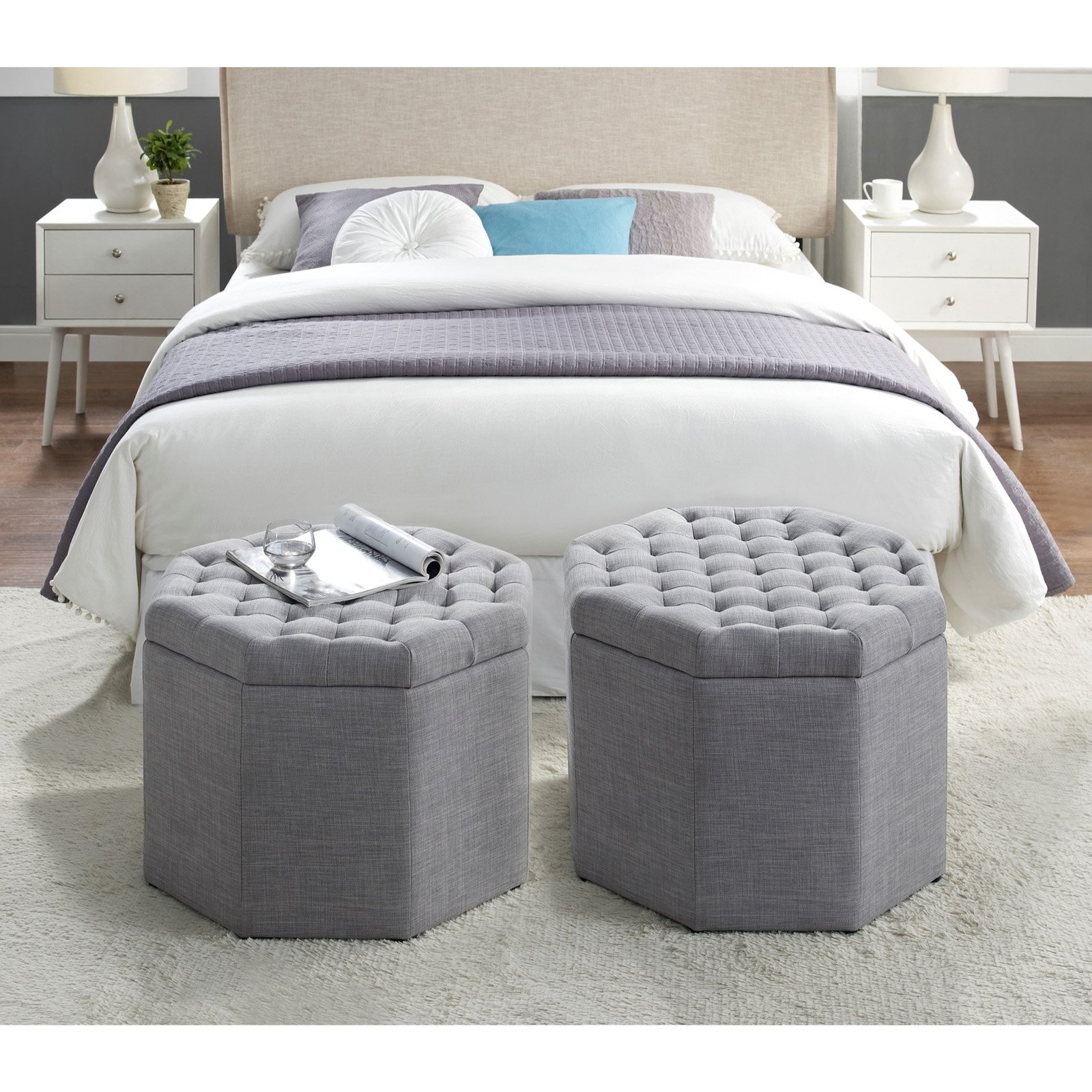 Inspired Home Brooke Linen Upholstered Storage Ottoman