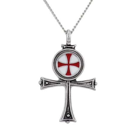Pewter Templar Knights Ankh Pendant w/ Link Necklace